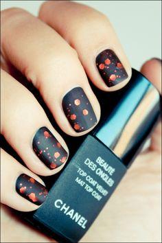 matte black and orange chunky glitter #oliveyourmani #nails