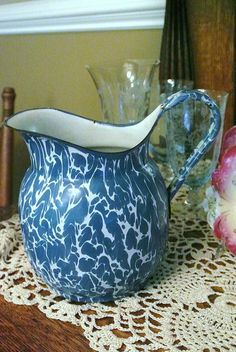 Graniteware Blue  White Large Swirl Rare by PattysPorcelainEtc, $125.00