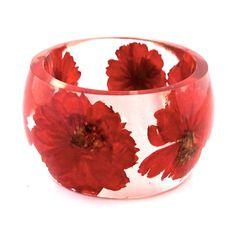 Size XL Orange Cosmos  Resin Bangle. Orange Pressed Flower  Bracelet.  Plus Size Bangle with Real Flowers.  Personalized Custom Jewelry