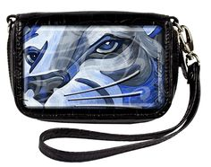 Show your PSU style with this adorable blue lion wristlet.  Adorned with Swarovski crystals, embellished with diamond dust. Croc embossed, fits any cell phone. Fits: iphone, ipod, and blackberry, headphones can be plugged in while phone is safely secured in pocket with magnetic catch. Zippered interior pocket and credit card slots and removable ID holder that clips into bag, and can be used separately as well.