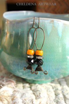 Art Jewelry Persimmon Earrings, Artwear, Trade Beads, Black Crystal, Abstract, Dangle Earrings, Art Elements, Rhinestones, Cheldena Artwear