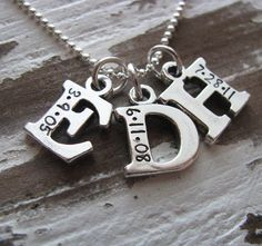 sterling silver triple initial with date necklace by juliethefish