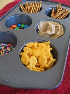 Muffin Tin Fishing- great idea for summer outdoor snacks or food on the couch so it doesn't get all over.