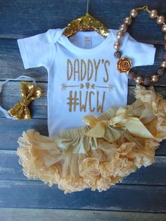 Daddy's WCW Bodysuit Gold Glitter Newborn by AnnMarieAvenue