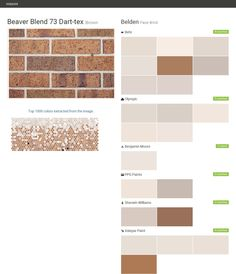 Beaver Blend 73 Dart-tex. Brown. Face Brick. Belden. Behr. Olympic. Benjamin Moore. PPG Paints. Sherwin Williams. Valspar Paint.  Click the gray Visit button to see the matching paint names.