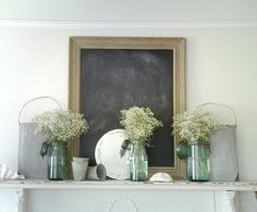 So lite and pretty and perfect for chalkboards and mason jars and pearls and plum.  Baby's Breath in Milk Jugs -