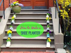 New Use for Old Shoes: How to Make a Shoe Planterhttp://groovygreenlivin.com/new-use-for-old-shoes-how-to-make-a-shoe-planter/ #reuse #recycle #spring