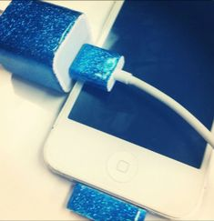 DIY iPhone Charger:  Make a colorful iPhone charger by painting it with nail polish.