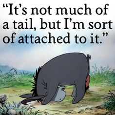 Poor Eeyore gets a bad rap for being such a gloomy donkey, but with good reason. He is stuffed with sawdust, has a tack holding his tail on, though not very securely he keeps loosing it. And his house keeps falling down and has to keep rebuilding it. In spite of all that, he is endearing, intelligent and compassionate. My favorite Winnie the Pooh character.