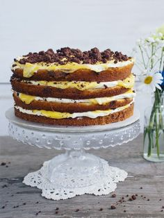 Chocolate Chip & Passionfruit 'Naked' Cake