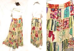 HIPPIE BOHO THAI handmade patchwork gypsy floral art cotton long maxi skirt