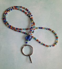 Multicolor Glass Bead Lanyard, colorful lanyard, work lanyard, lanyard, beaded lanyard, unique lanyard on Etsy, $12.00