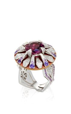 Kaleidoscope Ring in 18K white Gold and Titanium feat. a Violet Spinel with layers of Violet Sapphires and White Diamonds by LORENZ BAUMER for Preorder on Moda Operandi ♥•♥•♥