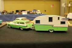 Revell '57 Ford Del Rio wagon with  matching '50's Shasta trailer.The trailer is a resin cast kit available from the Modelhaus.