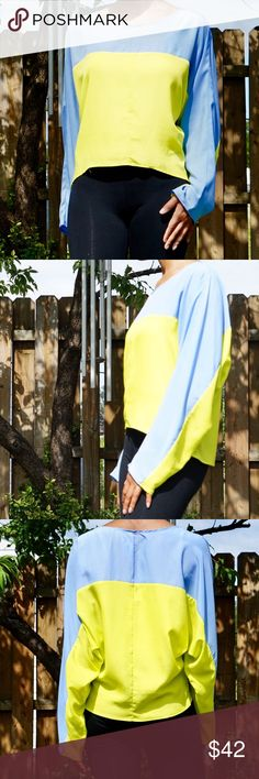 NAVEN Chiffon Color Block Dolman Sleeve Blouse NAVEN Chiffon Color Block Dolman Sleeve Blouse  Color block Dolman Sleeves Size medium Blue and neon yellow/green Chiffon High Low 100% polyester Light flowing material Tops Blouses