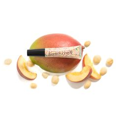 Keep your lips looking plump and peachy with jojoba, rice bran, macadamia, avocado, and tsubaki oils. Smooth this nourishing lip oil on your pout to hydrate, soften, and protect it with a juicy peach and mango scent. You'll be singing its praises after just one use!