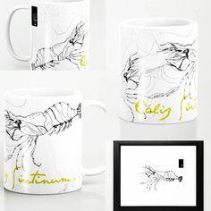 Lobster1.0 Mug - (Cáliz Sixtinum) delish coffee Colección S&A Bocetos para rediseño de @saboryartesv Lobster for redesign by S&A  #mugs #design #mug #drawning #doodle #ilustracion #byn #blackandwhite #lobster @arcadiawall #illustration #sansalvador #elsalvador