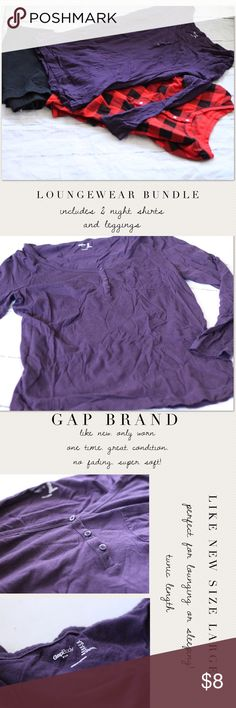 Loungewear Bundle Listing is for 3 great items to make up a sleepwear/lounge bundle.  Includes a Like new GapBody Purple Knit top, size Large (runs small), a size XS Xhileration buffalo plaid like new sleepshirt, and a gently worn pair of American Eagle leggings, size Medium.  They are a little faded, but good condition. GapBody Intimates & Sleepwear