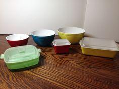 Vintage Children's Toy Plastic Pyrex Set Bowls & Refrigerator Dishes, Banner USA #Banner