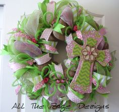 Spring And Easter Cross Wreath By AllTheRageDezigns On Etsy 8499 Trendytree Burlapwreaths