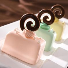 "Petit Fours Mini Cakes recipe from Wilton.  Cute little ""bling"" idea for the tops!"