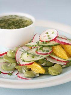 Recette Salade de fèves, concombre, radis et orange, notre recette Salade de fèves, concombre, radis et orange - aufeminin.com