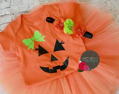 Listing is for tutu set headband onesie or buy just the onesie WEIGHT RANGE - - Ships day mail Baby Pumpkin Costume, Pumpkin Tutu, Pumpkin Halloween Costume, Pumpkin Patch Outfit, Cute Pumpkin, Baby In Pumpkin, First Halloween Costumes, Baby Halloween Outfits, Baby First Halloween