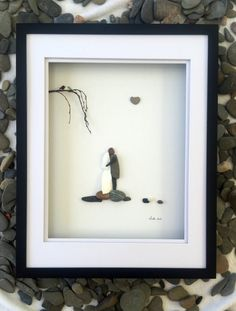 Unique Gift Pebble Art 16 x 20 Wedding Couple Bride and Groom ...in shadow box  Amazing!