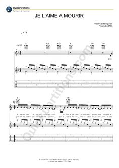 Tablature Guitare Je L'aime A Mourir - Francis Cabrel