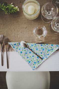 Eco friendly cloth napkins made from vintage fabrics by dotandarmy.etsy.com  Photography by  http://blog.emiliewhite.com/