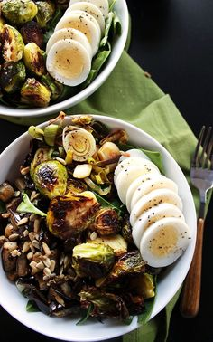 Robust Recipes | Brussels Sprouts Eggplant Buddha Bowl |
