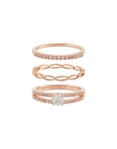 Accessorize | Rose Gold Stacking Ring Set | Clear | Medium | 3942320852