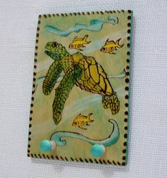 sea turtle peg rack with two pegs hanger attached green pyrography wood burning 4 x6 inches ready to ship by constersue on Etsy