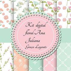 Kit digital papel floral Ana juliana gartis - Graça Layouts Design ,personalização e criação arte digital Kit Digital, Digital Paper Free, Digital Papers, Free Digital Scrapbooking, Cardboard Crafts, Paper Crafts, Diy And Crafts, Image Pinterest, Floral