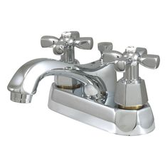 "Kingston Brass Metropolitan Two Handle 4"""" Centerset Lavatory Faucet with Brass Metropolitan Pop-up - Polished Chrome"