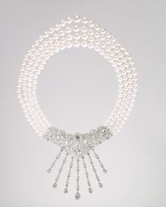 Cartier necklace, 1963, pearls, diamonds, and platinum
