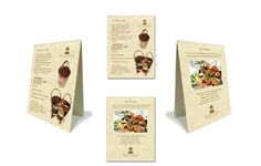 Lunch Menu Cards, Concierge Card and Tent cards for Gaylord London Restaurant. Tent Cards, London Restaurants, Food Labels