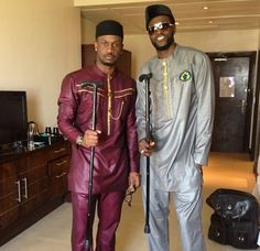 Nigerian groom, musician Peter Okoye (P-Square) stuns in his traditional wedding outfit (he's the one on the left).