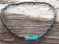 Turquoise and Chrysoprase beaded bracelet for men by DESERTDUSTMEN