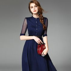 Click to see the details about this Navy Blue Silk Half Sleeve Belted Solid Midi Dress from Ewheat. VIPme.com offers high-quality midi dresses at affordable prices.