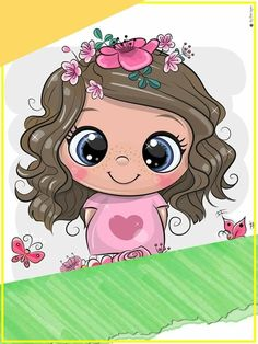 Cute Cartoon Pictures, Cute Cartoon Girl, Baby Cartoon, Cute Images, Cute Pictures, Birthday Calendar Classroom, Portfolio Covers, Blue Nose Friends, Easy Drawings For Kids