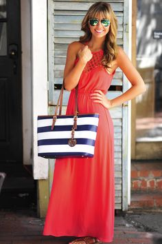 Crossing Paths Maxi Dress: Coral