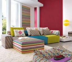 Contemporary minimalism with color/pattern twist --- Interior Design Inspiration from Linea Italia - infinite living room design ideas with Kube! Colorful Interior Design, Interior Modern, Interior Design Inspiration, Colorful Interiors, Modern Interiors, Interior Ideas, Living Colors, Colourful Living Room, Colorful Couch