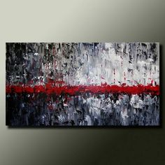 Original ABSTRACT Modern PAINTING Textured Contemporary Fine Art by Idil Kamlik black white red palette knife texture via Etsy