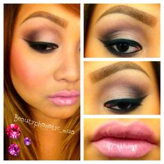 Baby pink and plum eyeshadow with Mac Snob lipstick. I love the eyeshadow, doesn't hurt that she has perfect eyes for shadow!
