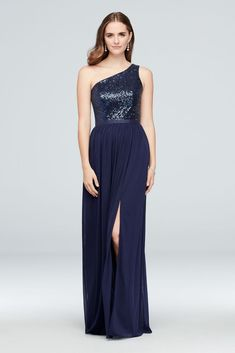 This long bridesmaid dress features a glittering sequin bodice with a ribbon-defined waist, and a fluid mesh slit skirt. fully lined Dry clean Imported Also available in extra length  Burgundy Bridesmaid Dresses Long, One Shoulder Bridesmaid Dresses, Davids Bridal Bridesmaid Dresses, Mismatched Bridesmaid Dresses, Bridesmaid Dress Styles, Bridesmaids, Wedding Dress, Maid Of Honour Dresses, Party Dresses