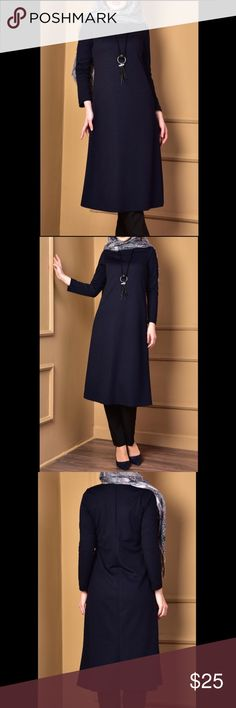 Navy Blue Tunic with necklace Sleeve : Long sleeve Fabric. : Polyester: 85% Lycra: 15% Length : 122  Color: Navy Blue New with tags There is a necklace on the product. The Zero Collar is preferred for all types of clothing. Lycra fabric provides comfortable use. & Other Stories Tops Tunics