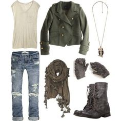 A friend sent me this pin- she knows me well!!  I love every bit of it.  Boyfriend jeans and green jacket. 19 Trendy Polyvore Outfits Winter