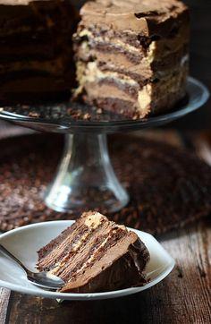 10-Layer Chocolate Caramel Mousse Cake {mind-over-batter.com}