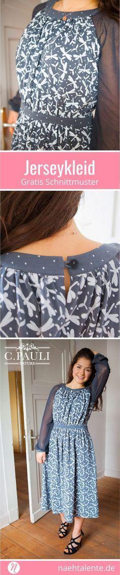 Freebook Jerseykleid für Damen - Näh ein herrliches Kleid mit Tüllärmeln für jede Jahreszeit. Die neckischen Tüllärmeln lassen ein wenig Haut blitzen, und so ist der große Auftritt garantiert. Bequem zu tragen dank Jersey und komfortablem Raglan-Schnitt. Gratis PDF-Schnittmuster zum Drucken in Gr. S, M und L. #nähen #freebook #schnittmuster #gratis #nähenmachtglücklich #freesewingpattern #handmade #diy